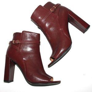 Uptown Vampy Leather Peep-Toe Chunky Heel Bootie